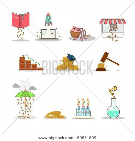 Business and investment isolated cartoon pack