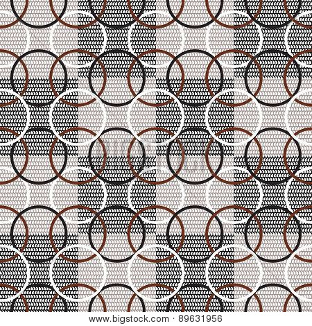 Seamless geometric pattern with chain rings on the checkerboard background