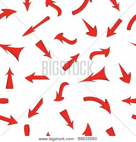 Vector set of red arrows, seamless wallpaper.