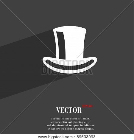 Cylinder Hat Icon Symbol Flat Modern Web Design With Long Shadow And Space For Your Text. Vector