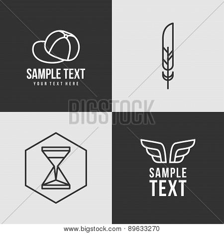Line Art Badge Or Logo Template. Thin Line Graphic Design