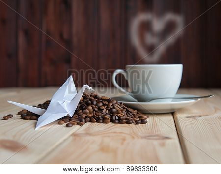 Cup Of Coffee With Crane