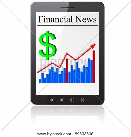 Financial News dollar on Tablet PC. Isolated on white.