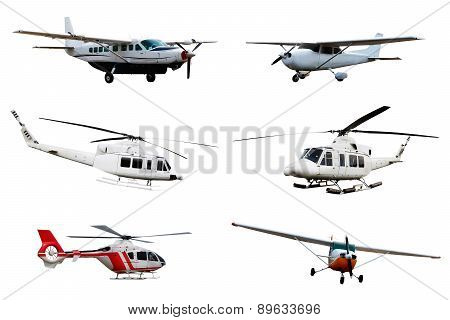Collection Of Airplane And Helicopter