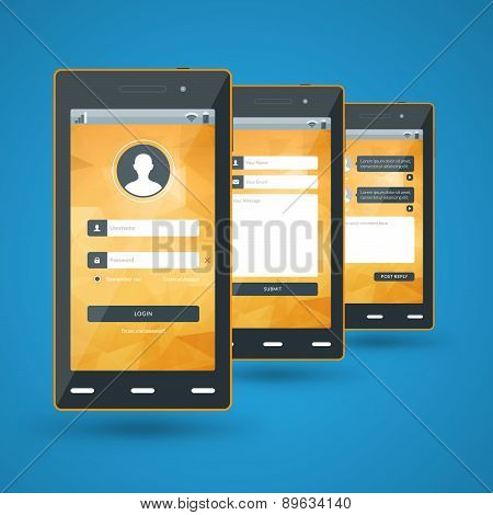 Modern Smartphone. Flat Design Template For Mobile Apps