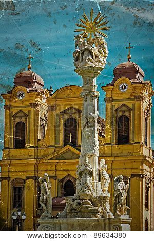 Old Postcard With German Dome And Holy Trinity Statue. Timisoara, Romania.