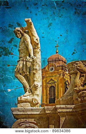 Old Postcard With German Dome And Holy Trinity Statue. Timisoara, Romania 3