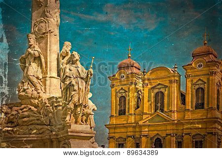 Old Postcard With German Dome And Holy Trinity Statue. Timisoara, Romania 1