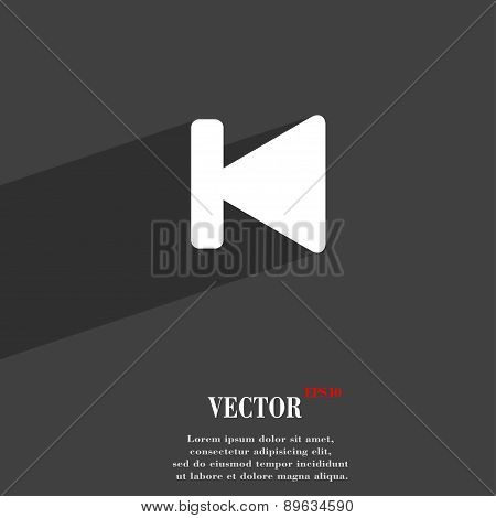 Fast Backward Icon Symbol Flat Modern Web Design With Long Shadow And Space For Your Text. Vector