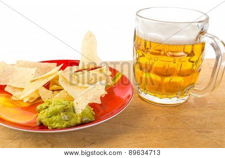 Guacamole With Beer And Tortilla Chips