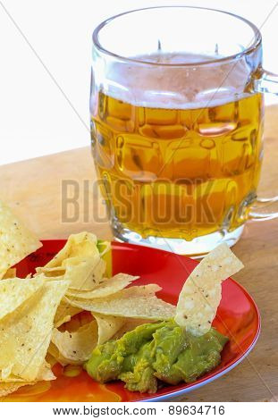 Guacamole Snack With Beer