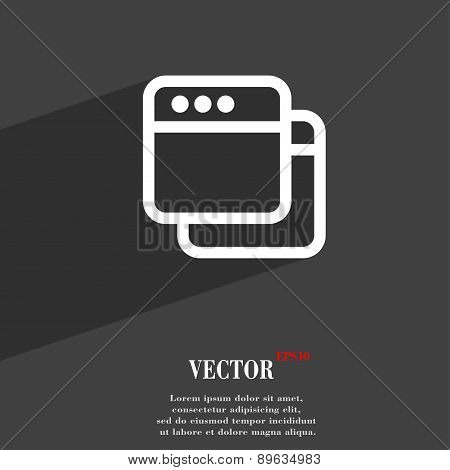 Simple Browser Window Icon Symbol Flat Modern Web Design With Long Shadow And Space For Your Text. V