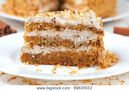 Piece of homemade tasty carrot sponge cake with pastry cream
