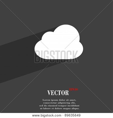 Cloud Icon Symbol Flat Modern Web Design With Long Shadow And Space For Your Text. Vector