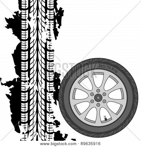Abstract background tire prints, vector illustration