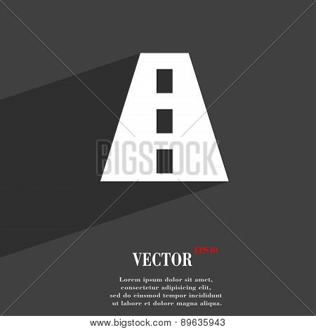 Road Icon Symbol Flat Modern Web Design With Long Shadow And Space For Your Text. Vector