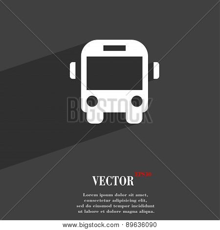Bus Icon Symbol Flat Modern Web Design With Long Shadow And Space For Your Text. Vector