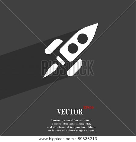 Rocket Icon Symbol Flat Modern Web Design With Long Shadow And Space For Your Text. Vector