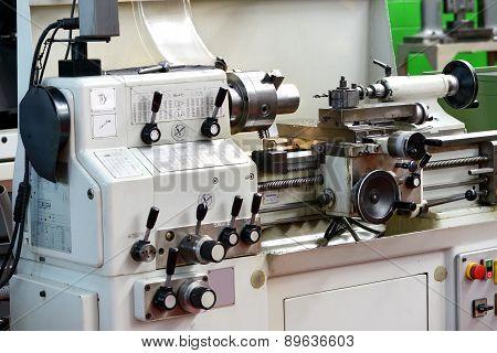 Close Up Of Automated Lathe Machine