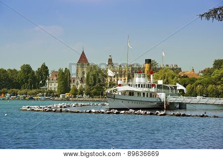 Paddle Steamer Rhone On Lake Geneva
