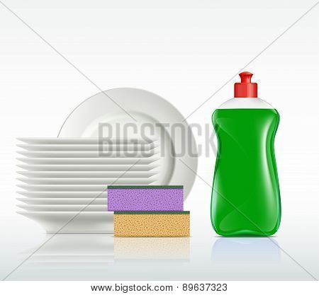 Plates And A Bottle With Detergent
