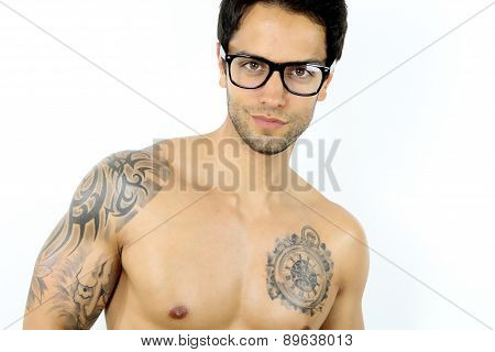 handsome man wearing glasses