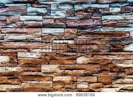 Multicolored Faded Brick Tile Urban Wall
