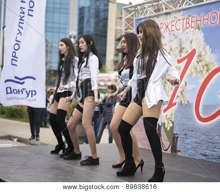 Beautiful Girl Dancing With A Ensemble Of Dance On May 1 In Rostov-on-don