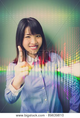 Asian Office Girl Lifting Her Forefinger, Showing For Confidence In Business Analysis With Colorful