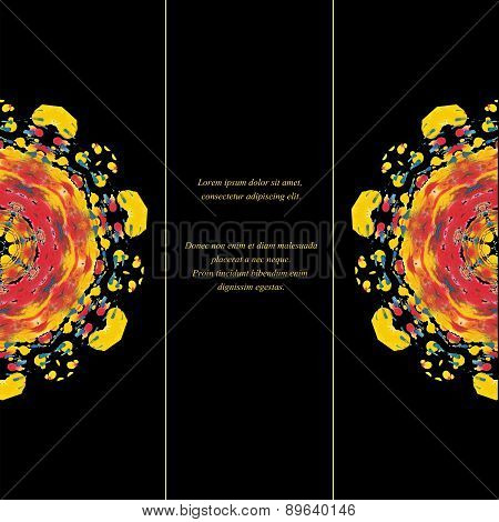 Template of card or flyer  with half colorful round ornament on the black background