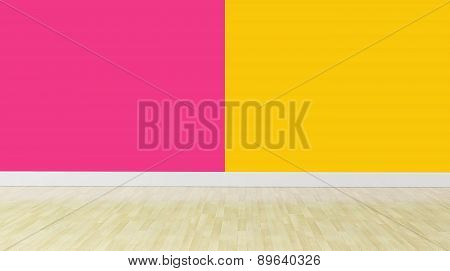 Double Color Wall With No Furniture