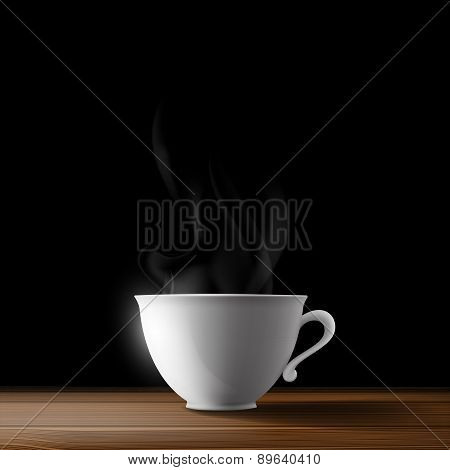 White Cup On A Wooden Table