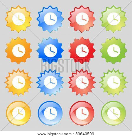 Mechanical Clock  Icon Sign. Big Set Of 16 Colorful Modern Buttons For Your Design. Vector