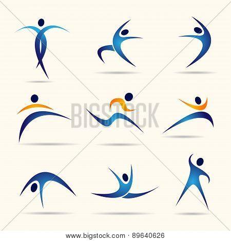 Fitness social sport people logo