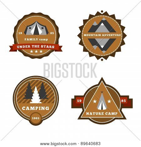 Set Of Camping And Outdoor Adventure Stickers Logo Badges Labels.
