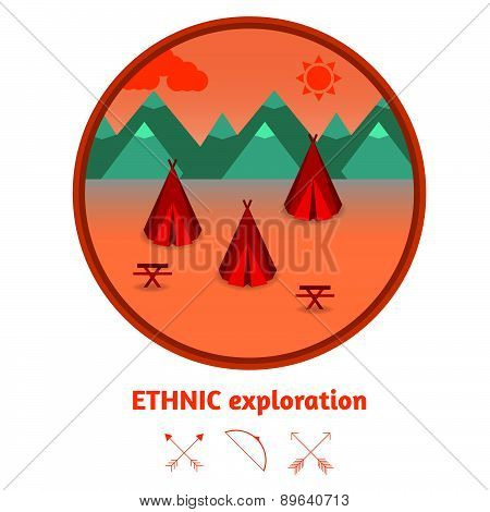 Camping Mountain Background, With Wigwams, Flat Design.