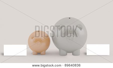 Two Piggy With Message, Business Concept