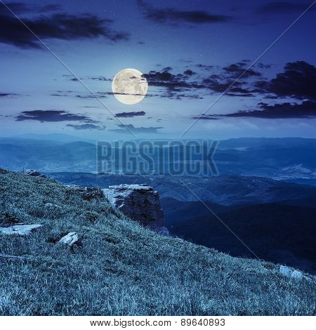Boulders On The Endge Of Mountain At Night