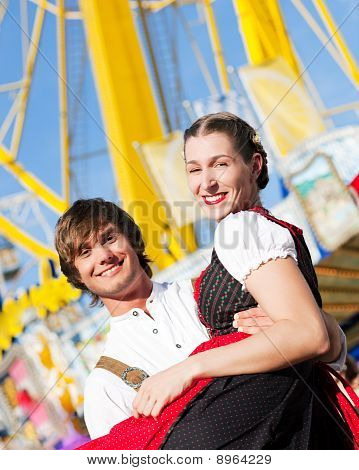 Couple in Tracht on Dult or Oktoberfest