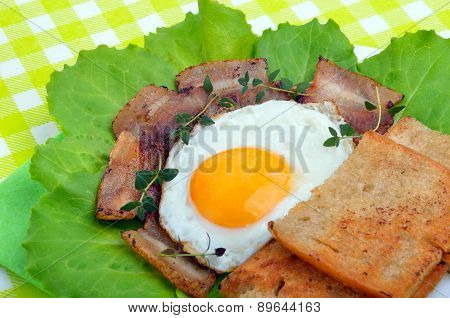 English Breakfast -  Egg, Toast, Bacon And Vegetables