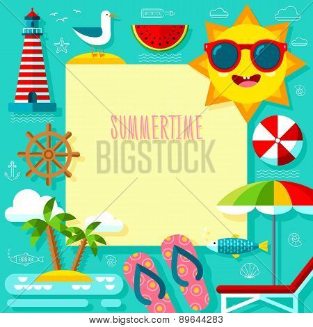 Summertime Adventure Template With Travel Summer Icons Set