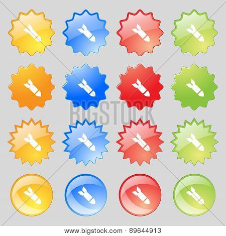 Missile,rocket Weapon Icon Sign. Big Set Of 16 Colorful Modern Buttons For Your Design. Vector
