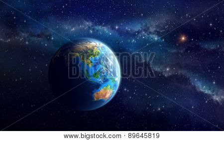 Planet Earth in deep space