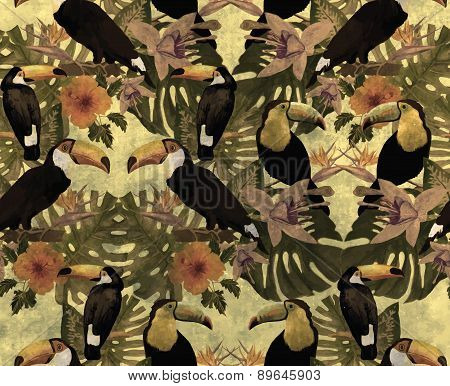 Seamless grunge vintage style pattern with toucans. Hand drawn vector.