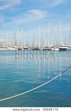 Sailing yacht scene Mediterranean blue water and rope
