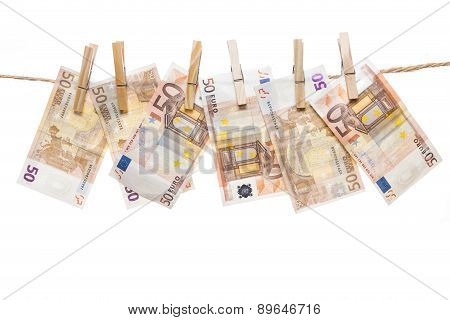 Fifty Euro Notes Hanging