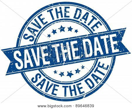 Save The Date Grunge Retro Blue Isolated Ribbon Stamp