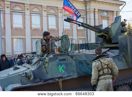 Makeevka, Ukraine - February, 22, 2015: Soldiers Of The People's Republic Of Donetsk In The Central