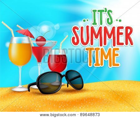 Summer Time Title in Sand and Horizon Background