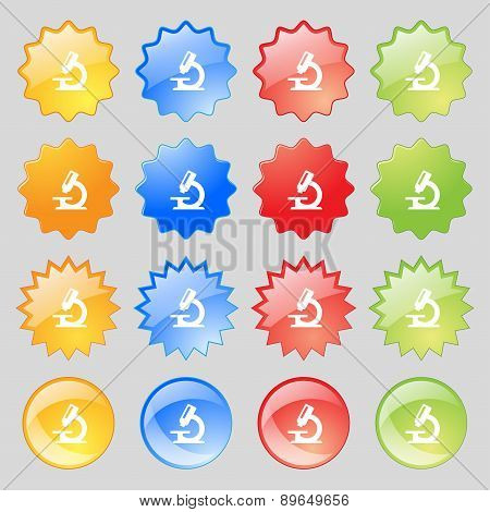 Microscope Icon Sign. Big Set Of 16 Colorful Modern Buttons For Your Design. Vector